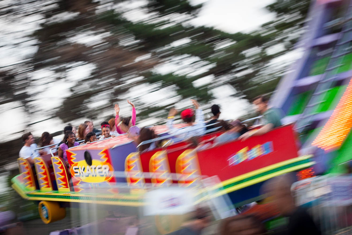 """From a local carnival last summer – the """"skateboard"""" spins as well as swinging…"""